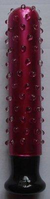 Вибромассажер с шипами по всей длине из стекла (красный)