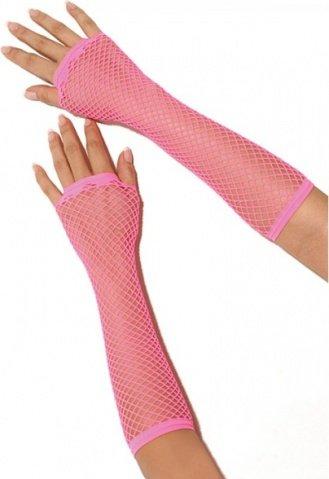 Длинные розовые перчатки в сетку