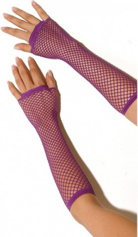 Длинные фиолетовые перчатки в сетку