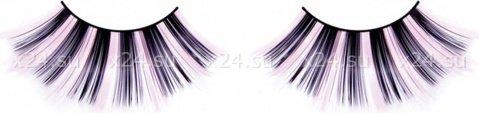 Ресницы черно-розовые длинные, фото 2