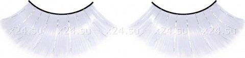 Ресницы длинные белые с серебряными блестками, фото 4