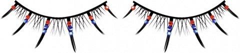 Ресницы чрные с красными и голубыми стразами, фото 2