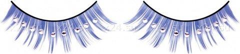 Ресницы синие с серебряными стразами, фото 2