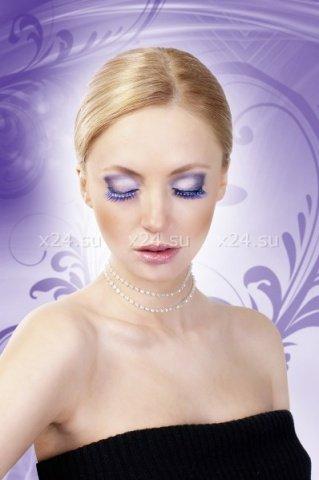 Ресницы синие с серебряными стразами, фото 3