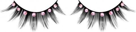 Ресницы чрные с розовыми стразами, фото 2