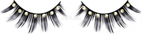 Ресницы черные с серебрянными стразами, фото 2