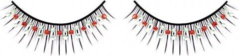 Ресницы чрные с красными и серебрянными стразами, фото 2