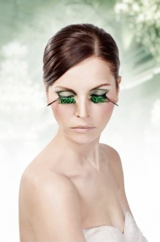 Ресницы зелные перья