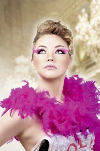 Ресницы чрные-фиолетовые перья