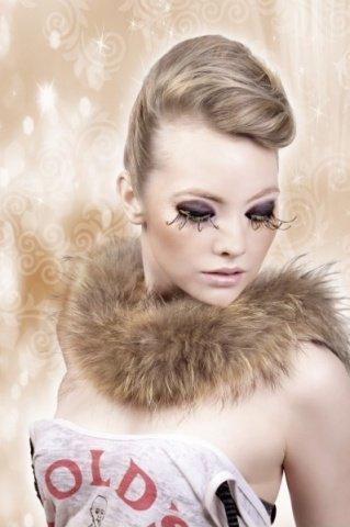 Ресницы коричнево-золотые перья