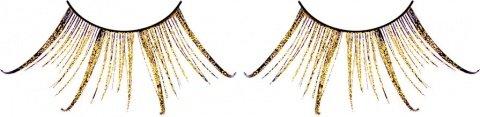 Ресницы коричнево-золотые перья, фото 2