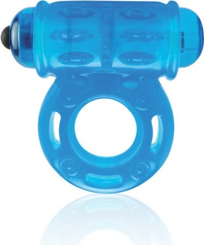 Голубое мощное вибро-кольцо со стимулятором клитора, фото 2
