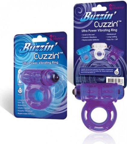 Фиолетовое мощное вибро-кольцо со стимулятором клитора