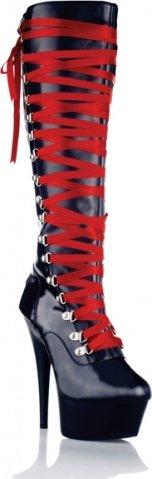 Лаковые сапоги с атласной шнуровкой BLK-39