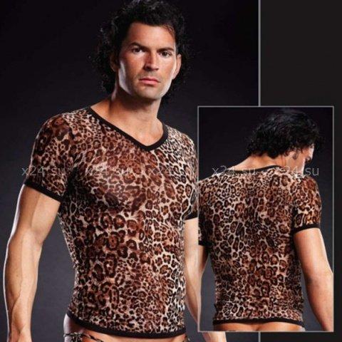 Сетчатая футболка леопардовая