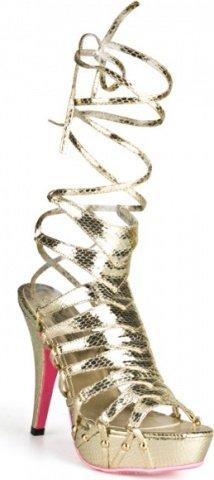Золотистые босоножки из искусственной змеиной кожи snake style 38
