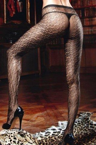 Beauty Inside The Beast Колготки черные с нежными узорами (42-46), фото 3
