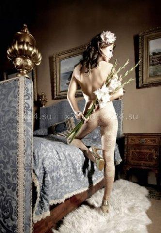 Dolce Vita Колготки светло-бежевые кружевные с цветочным орнаментом (42-46), фото 2