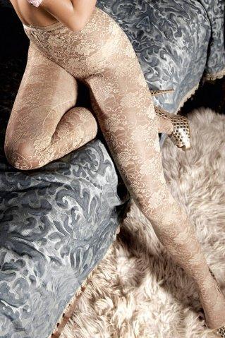 Dolce Vita Колготки светло-бежевые кружевные с цветочным орнаментом (42-46), фото 3