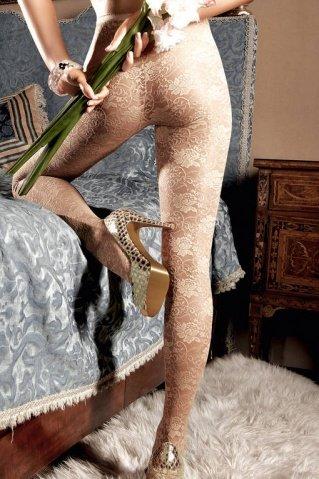 Dolce Vita Колготки светло-бежевые кружевные с цветочным орнаментом (42-46), фото 4