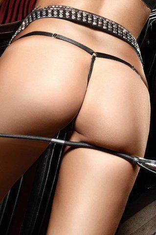 M/l черные стринги прозрачны спереди, украшены серебристым бантом, фото 3