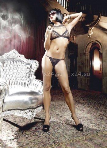 Deeper in Hell Комплект золотисто-черный кружевной комплект бикини