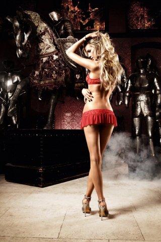 Deeper in Hell Комплект красный мини-юбки с Бюстгальтером и вставными кружочками из ткани