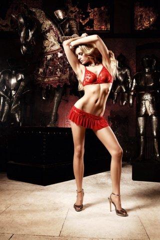 Deeper in Hell Комплект красный мини-юбки с Бюстгальтером и вставными кружочками из ткани, фото 4