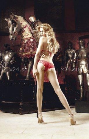Deeper in Hell Комплект красный бикини из Бюстгальтером треугольником и трусикам с точечками, фото 2