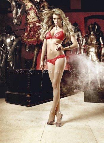 Deeper in Hell Комплект красный бикини из Бюстгальтером треугольником и трусикам с точечками, фото 4