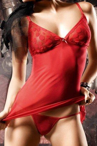 Deeper in Hell Платьице красное платьице из тюлевой ткани с точечками и G-стрингами