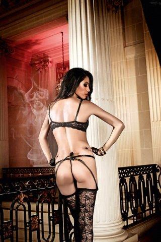 Deeper in Hell Бюстгальтер черный кружевнойс косточками и подвеской, фото 2