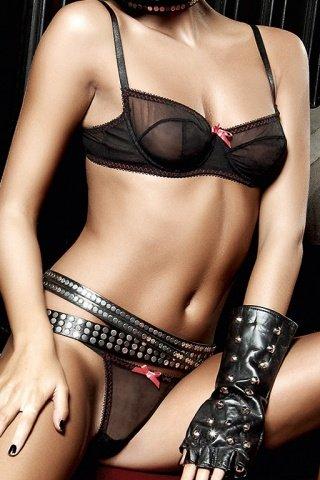 Deeper in Hell Комплект бикини черныйс косточками, розовыми контрастными швами и бантиками, фото 2