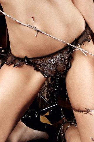 Deeper in Hell Стринги черные с серебристым орнаментом