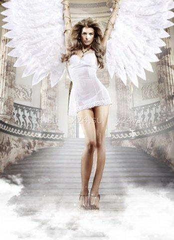 Back in Heaven Платьице белое из тюлевой ткани с косточками и мягкими чашечками, фото 4