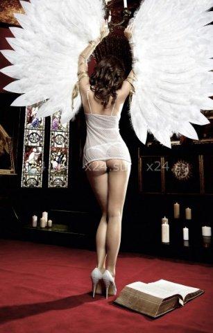 Back in Heaven Платьице белое из тюлевой ткани с нежными узорами и кружевным бюстье, фото 4