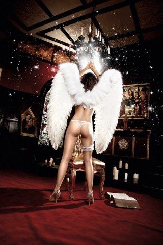 Back in Heaven G-Стринги белые из тюлевой ткани с нежными узорами и сатиновыми ленточками