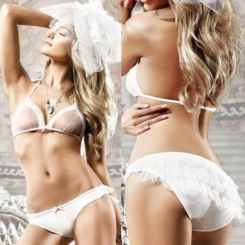 Back in Heaven Комплект бикини белый в точечку с рюшами, фото 5