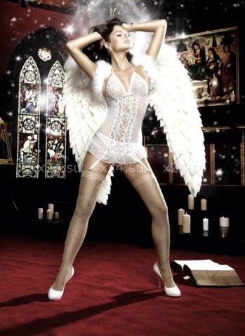 Back in Heaven Платьице белое с завязками за шеей и подвязками для чулков