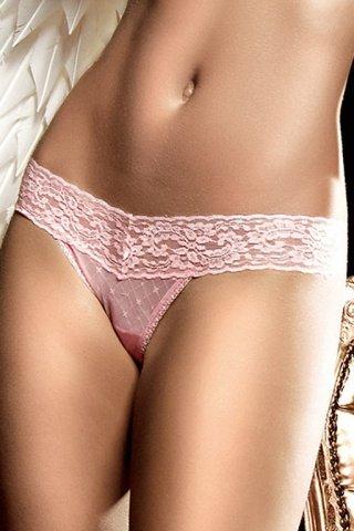 светло-розовые g-стринги с узором в ромб и кружевной манжеткой, фото 2