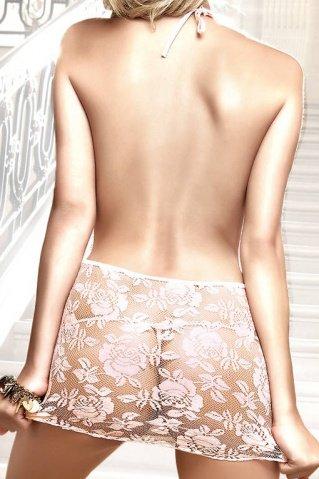 Back in Heaven Платьице светло-розовое с завязками за шеей, цветочной вышивкой и передней шнуровкой, фото 2