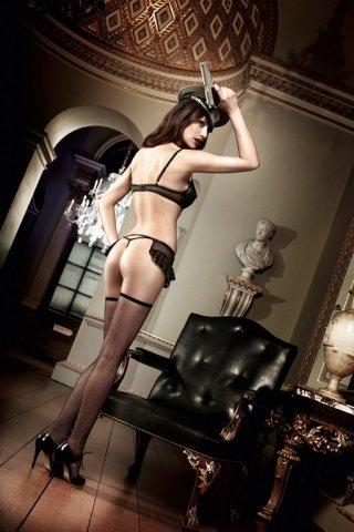 Agent Of Love Комплект бюстгальтер черный с косточками, кружевными элементами и подвязкой для чулков, фото 2