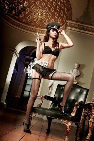 Agent Of Love Комплект бюстгальтер черный с косточками, кружевными элементами и подвязкой для чулков, фото 4
