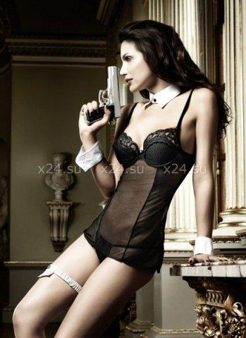 Agent Of Love Платьице черное из тюлевой ткани с косточками, фото 3