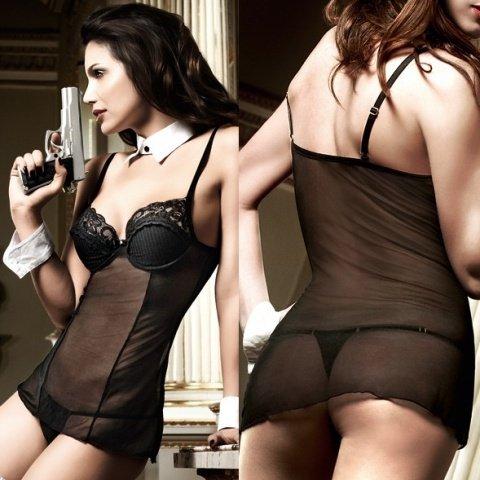 Agent Of Love Платьице черное из тюлевой ткани с косточками, фото 5