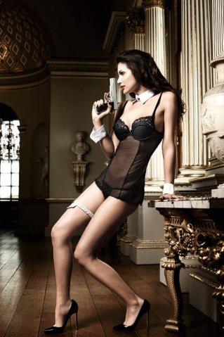 Agent Of Love Платьице черное из тюлевой ткани с косточками, фото 6