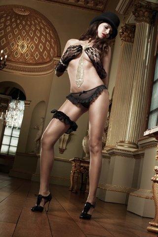 Agent Of Love Трусики черные из тюлевой ткани в полосочку и рюшами, фото 4