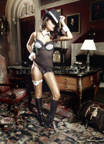 Agent Of Love Платьице черное из тюлевой ткани с косточками, белой аппликацией и G-стрингами