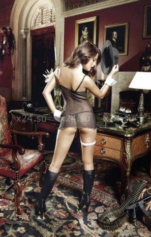 Agent Of Love Платьице черное из тюлевой ткани с косточками, белой аппликацией и G-стрингами, фото 2