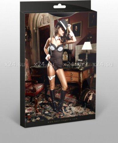 Agent Of Love Платьице черное из тюлевой ткани с косточками, белой аппликацией и G-стрингами, фото 3
